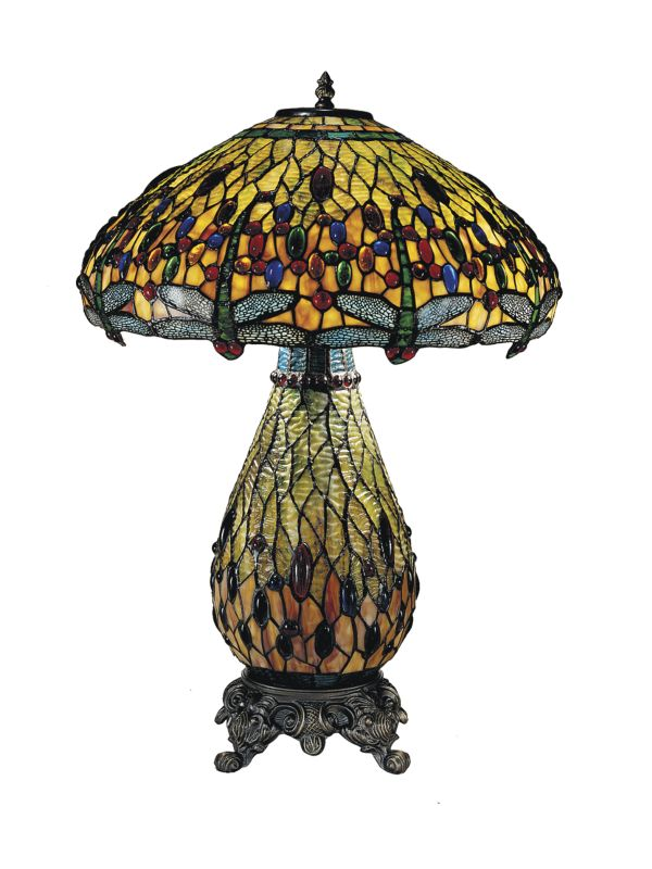 "Dale Tiffany TT100273 25"" Jeweled Dragonfly Table Lamp with Candelabra"