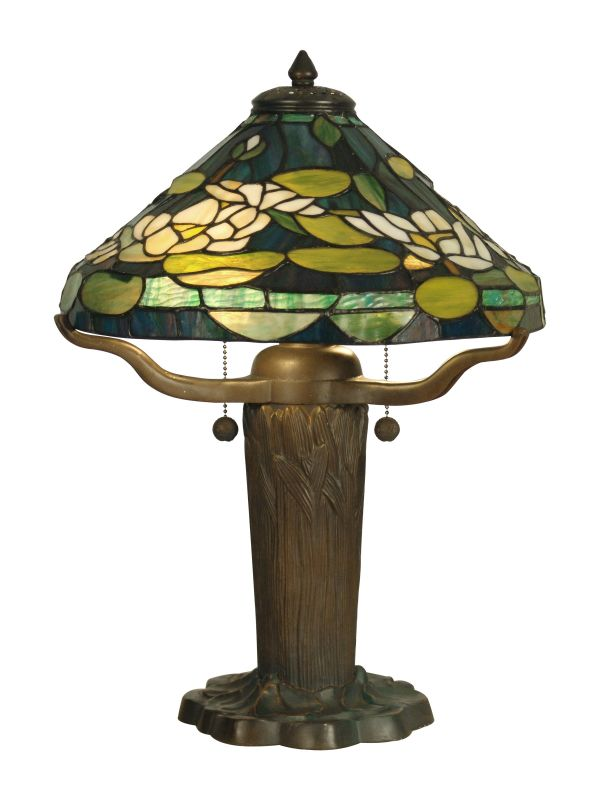 Dale Tiffany TT10032 2 Light Tiffany Table Lamp with Art Glass Shade