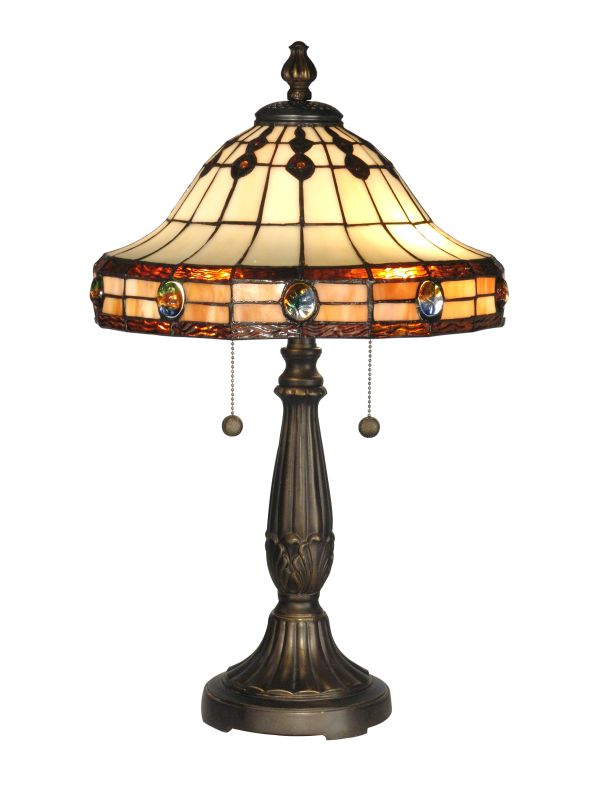 Dale Tiffany TT10034 2 Light Tiffany Mission Table Lamp with Art Glass