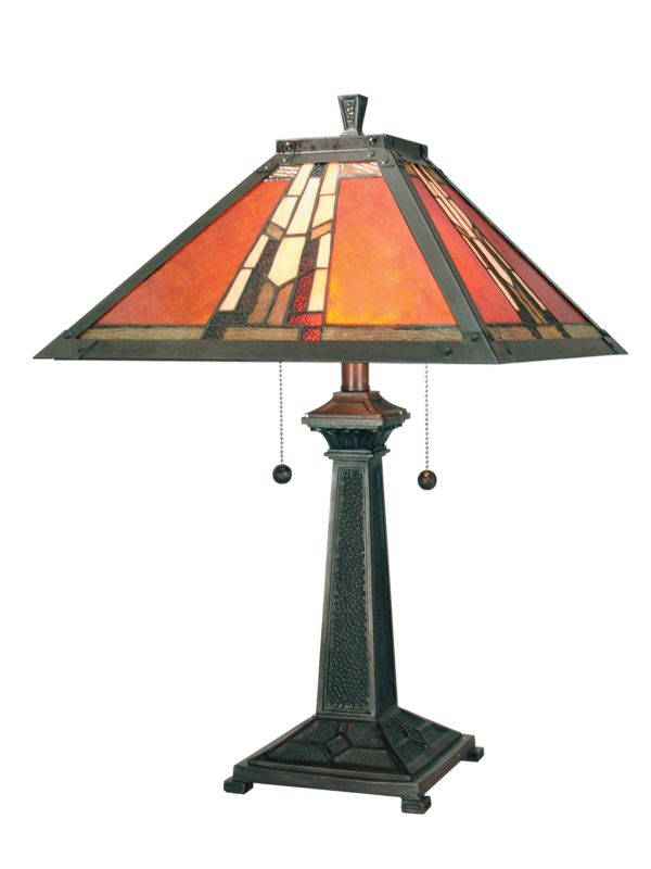 "Dale Tiffany TT100716 24"" Amber Monarch Table Lamp with 2 Lights Mica"