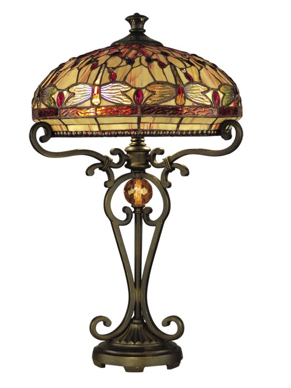 Dale Tiffany TT10095 Victorian 2 Light Dragonfly Table Lamp with Art