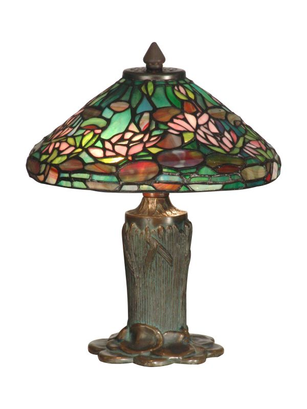 Dale Tiffany TT10334 Floral Leaf Tiffany Table Lamp with 2 Lights