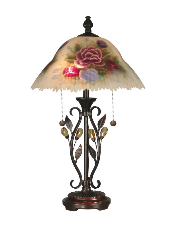 Dale Tiffany TT10449 Handed Table Lamp W/Able Crystal Leaves with 2