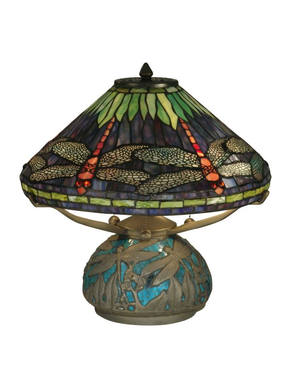 Dale Tiffany TT10518 Dragonfly On Shade & Base Table Lamp with 3