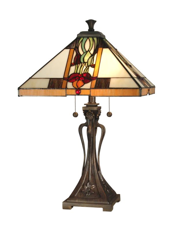 Dale Tiffany TT10533 Natalie Mission Table Lamp with 2 Lights Antique