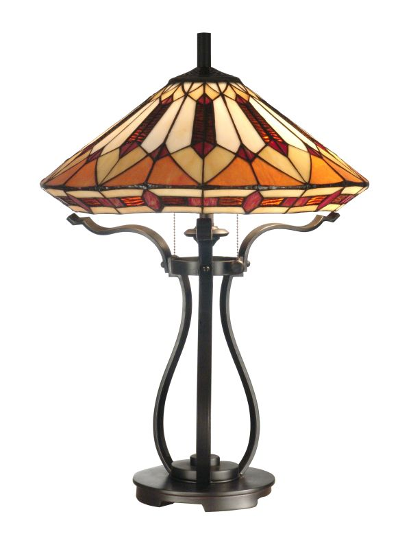 Dale Tiffany TT10791 Harp Tiffany Table Lamp with 2 Lights Black Lamps