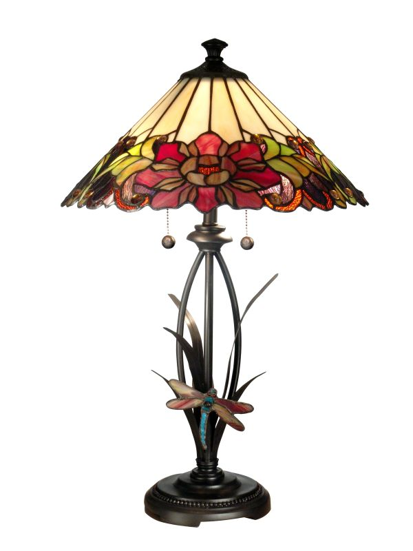 Dale Tiffany TT10793 Floral With Dragonfly Tiffany Table Lamp with 2