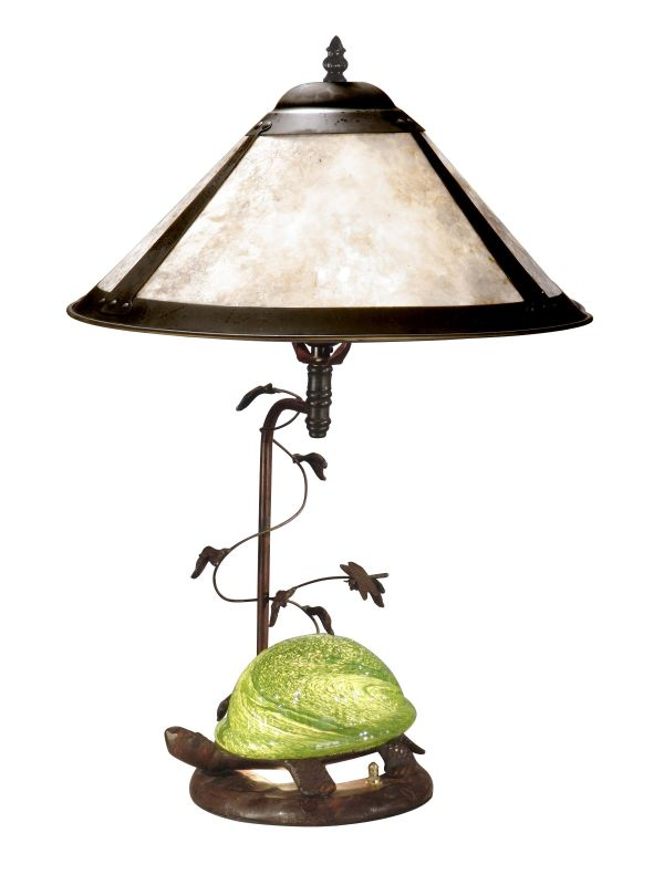 Dale Tiffany TT10840 Mica Green Turtle Table Lamp Antique Bronze Lamps