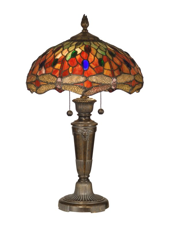 dale tiffany tt12087 fieldstone pearce dragonfly 2 light table lamp. Black Bedroom Furniture Sets. Home Design Ideas