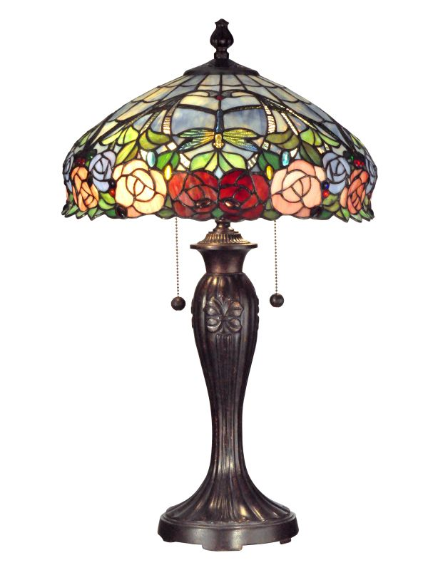 Dale Tiffany TT12232 Zenia Rose 2 Light Table Lamp Fieldstone Lamps