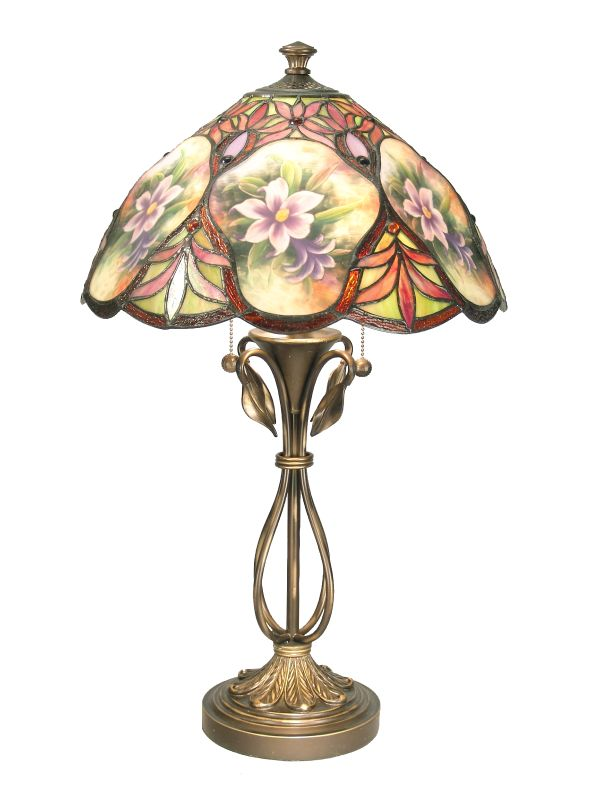 Dale Tiffany TT50219 Danby Table Lamp with 2 Lights Antique Brass