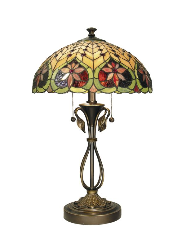 "Dale Tiffany TT60024 26.75"" Tiffany Table Lamp with 2 Lights Antique"