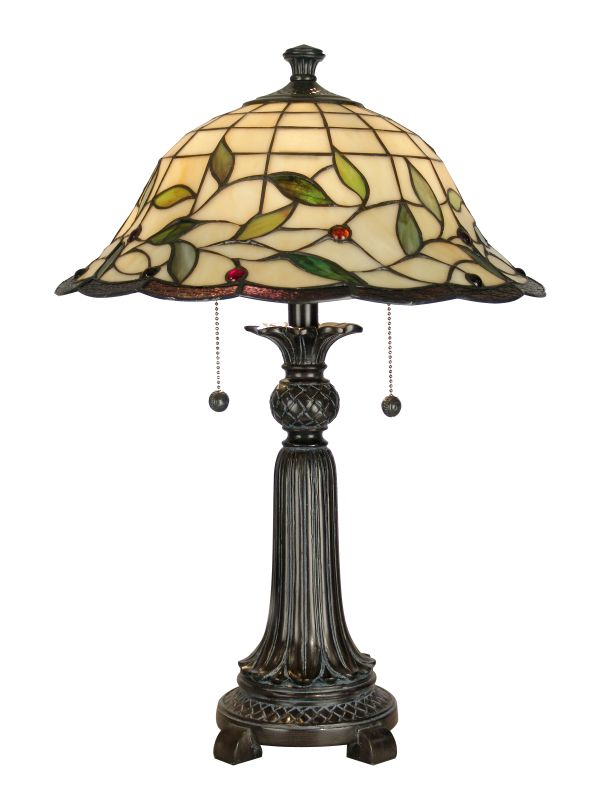 "Dale Tiffany TT60574 23"" Donavan Table Lamp with 2 Lights Mica Bronze"