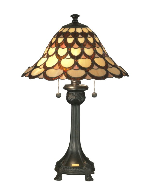 Dale Tiffany TT70110 Peacock 2 Light Table Lamp Antique Bronze Lamps