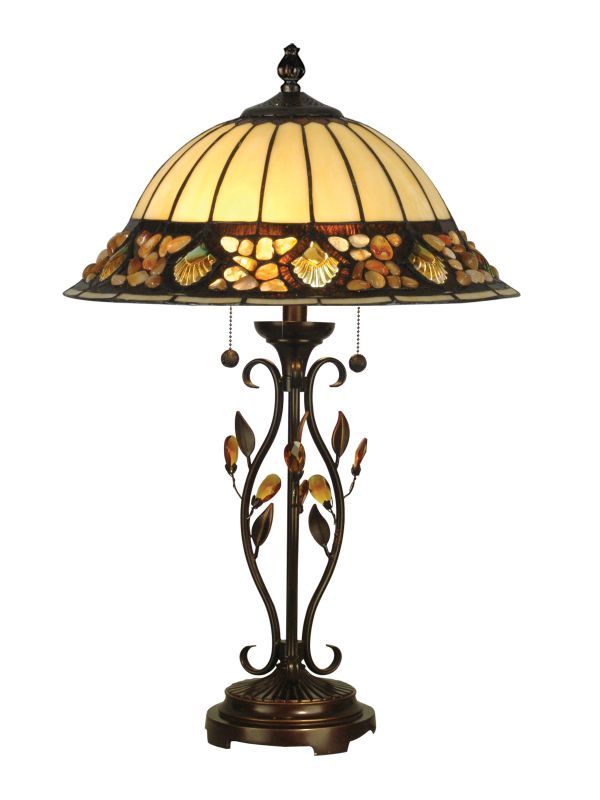 "Dale Tiffany TT90172 16"" x 27"" Pebblestone Table Lamp Antique Golden"