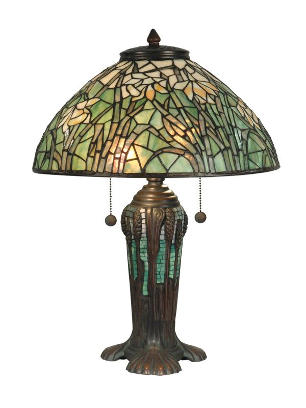 Dale Tiffany TT90429 Victorian 2 Light Tiffany Table Lamp with Art