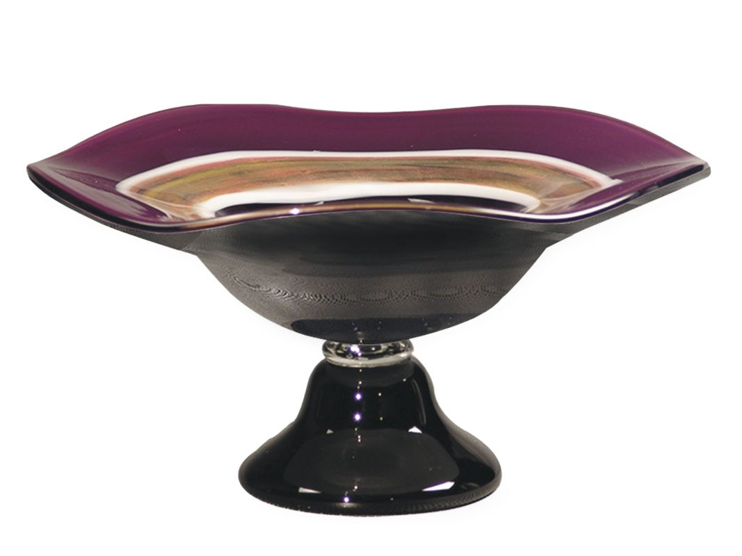 Dale Tiffany AG500285 Retro Melrose Pedestal Bowl Mauve Home Decor