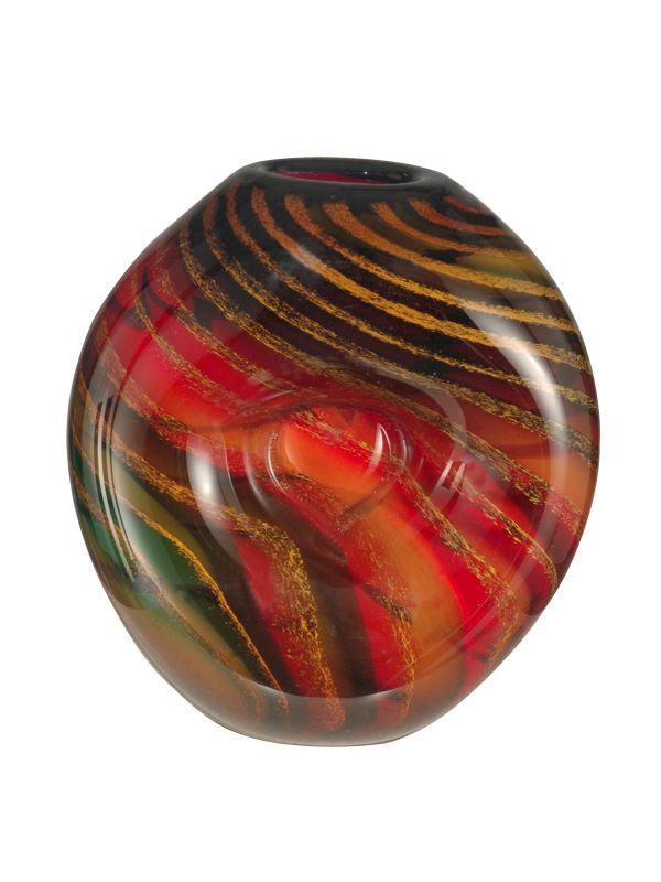 Dale Tiffany AV12038 Striped Heart Vase with Hand Blown Art Glass
