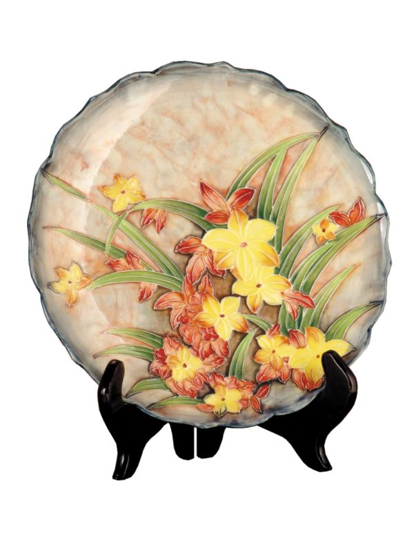 Dale Tiffany PA500151 Porcelain Springtime Decorative Plate with Stand