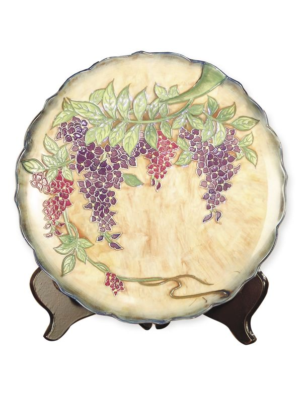 Dale Tiffany PA500209 Porcelain Wisteria Decorative Plate Ivory /