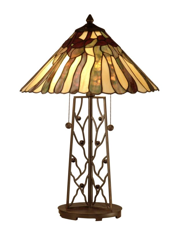 Dale Tiffany TT10597 Rectangular Base Tiffany Table Lamp with 2 Lights