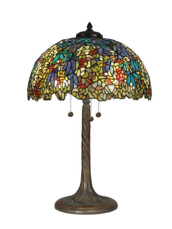 Dale Tiffany TT90430 Victorian 3 Light Tiffany Table Lamp with Art