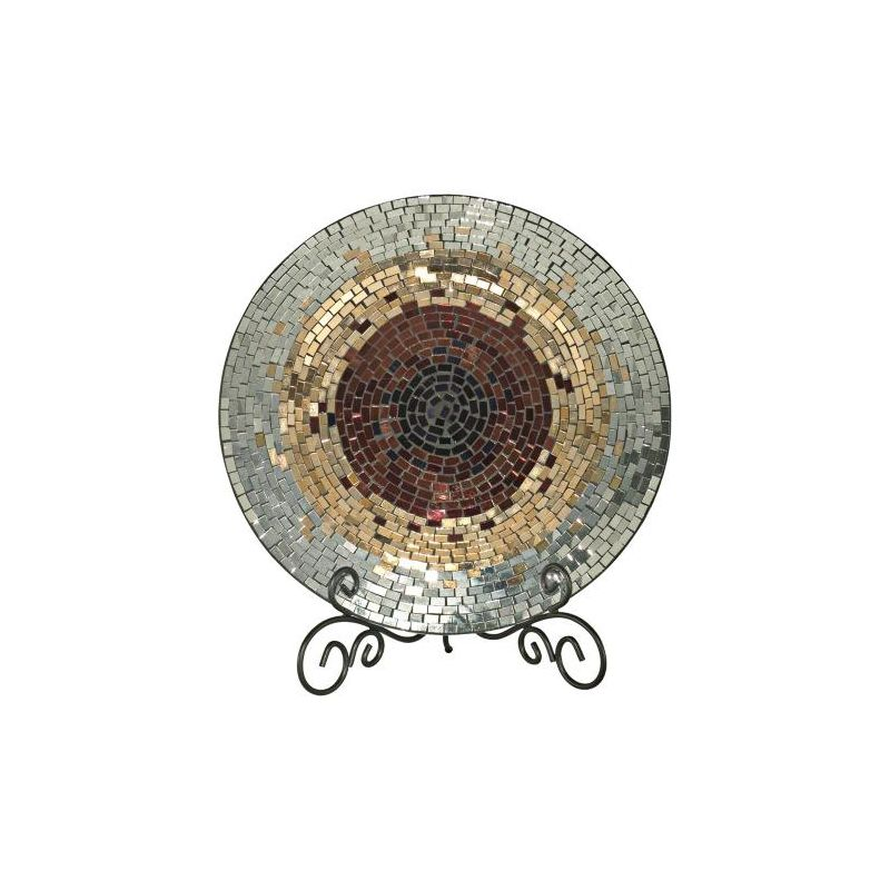 Dale Tiffany AV10724 Antique Gold Mosaic Charger with Hand Blown Art