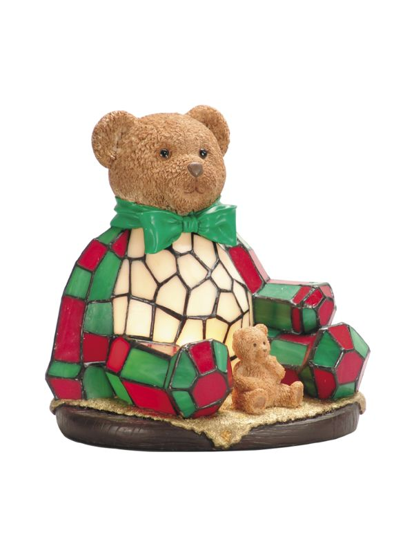 Dale Tiffany RS106 Single Light Noel Bear Night Light with Art Glass