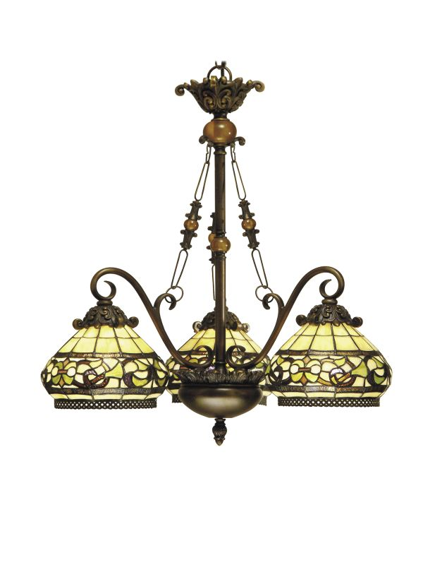 Dale Tiffany TH101135 Victorian 3 Light Lewellen Chandelier with Art