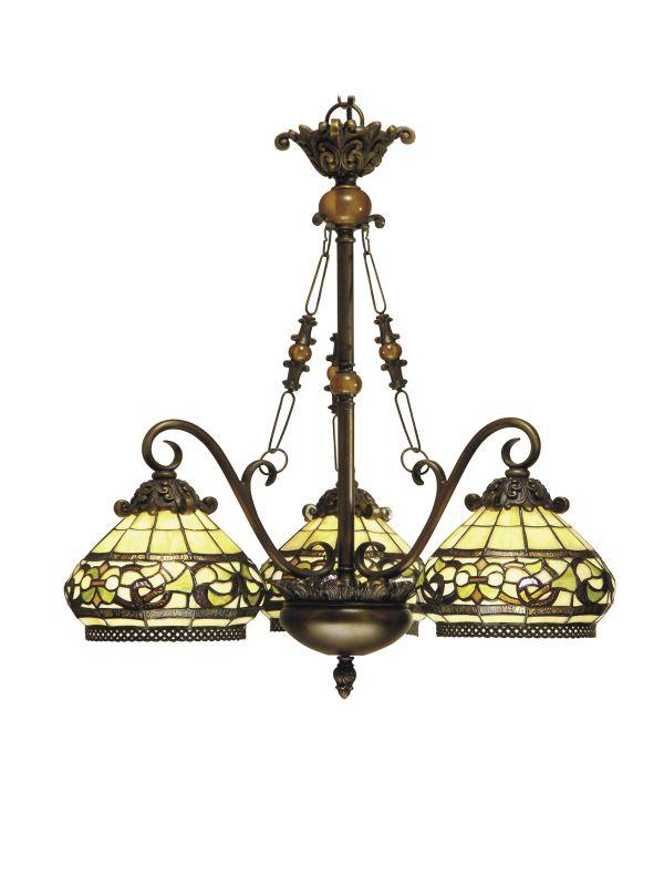 Dale Tiffany TH101135 Victorian 3 Light Lewellen Chandelier with Art