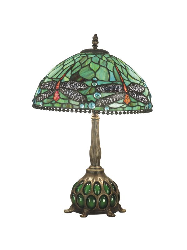 Dale Tiffany TT60919 Victorian 2 Light Dragonfly Table Lamp with Art