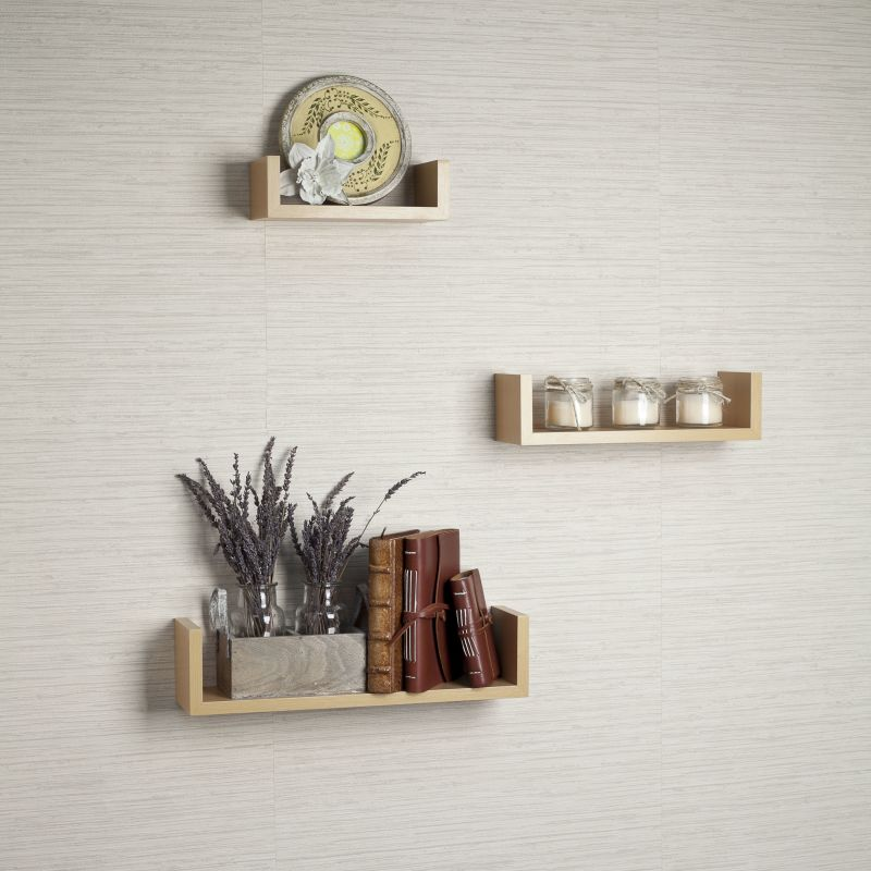Danya B XF11039 Nesting U Wall Shelves - Set of 3 Light Wood Home