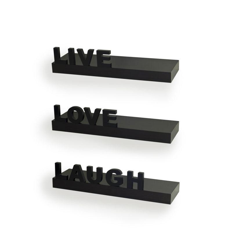 Danya B YU075 Decorative Live-Laugh-Love Wall Shelves - Set of 3 Black