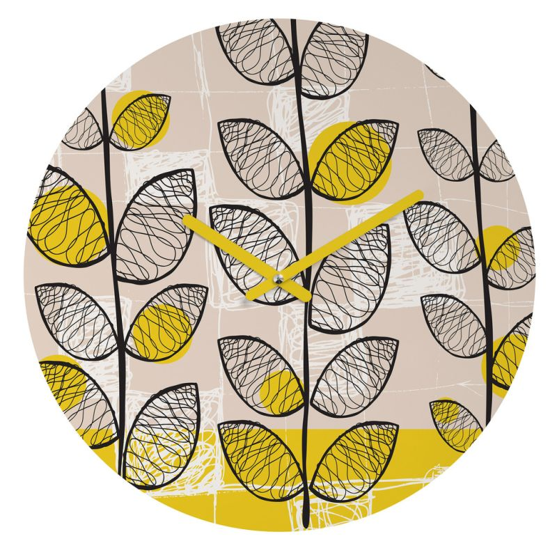 Deny Designs 50s Inspired Wall Clock Rachael Taylor Round Clock Yellow