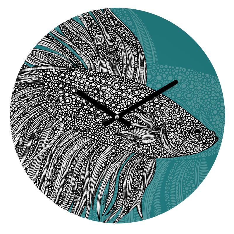 Deny Designs Beta Fish Wall Clock Valentina Ramos Round Clock Blue
