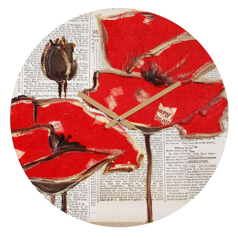 Deny Designs Red Perfection Wall Clock Irena Orlov Round Clock Red