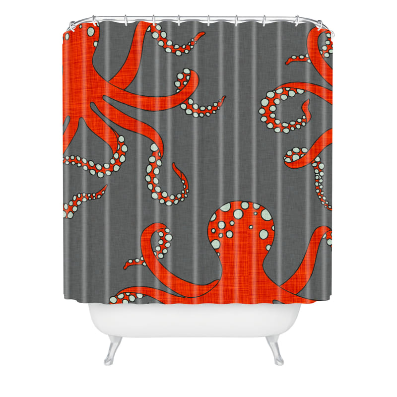 Deny Designs Octopus Red Curtain Holli Zolling Shower Curtaain 69 x 72