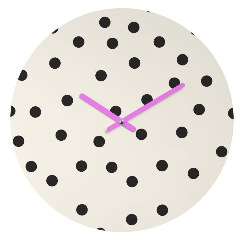 Deny Designs Vintage Dots Black Wall Clock Garima Dhawan Round Clock