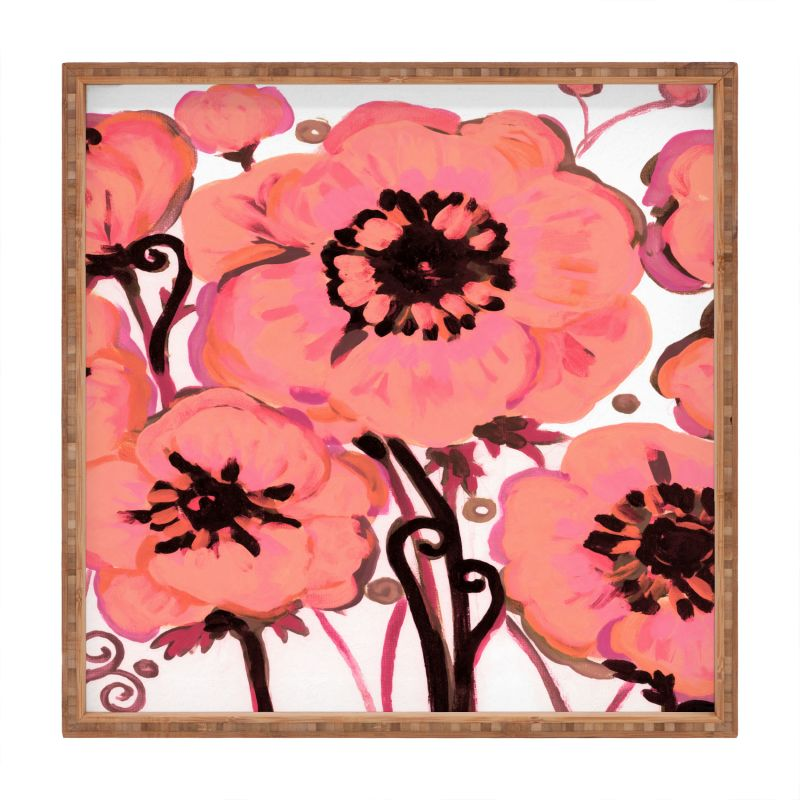 Deny Designs Anemone Pink Square Tray Natash Wescoat Anemone