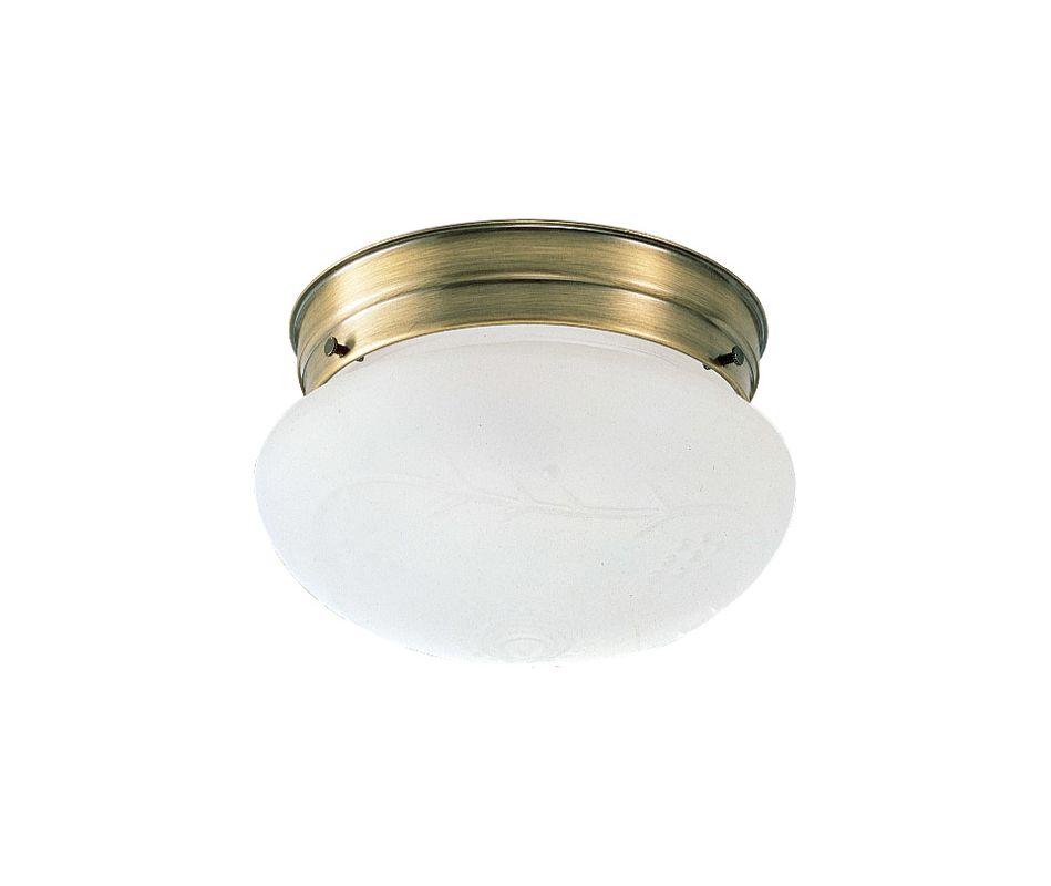 Design House 501866 1 Light Flush Mount Ceiling Fixture Antique Brass