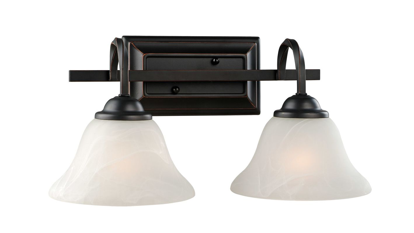 Design House 514919 Oil Rubbed Bronze Drake Rustic 2 Light Down Lighting Bathroom Vanity Fixture