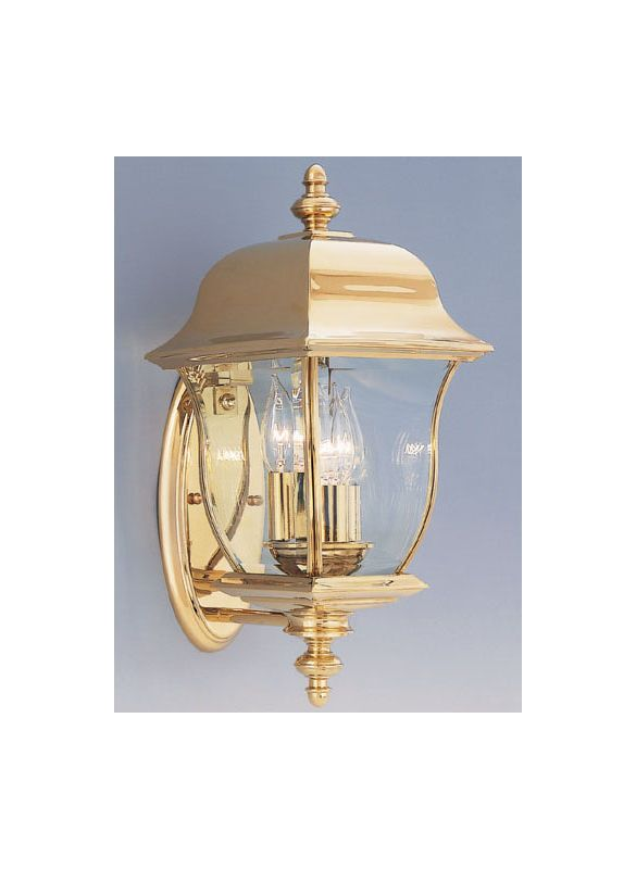 "Designers Fountain 1542-PVD-PB 3 Light 8"" Wall Lantern Solid Brass PVD"