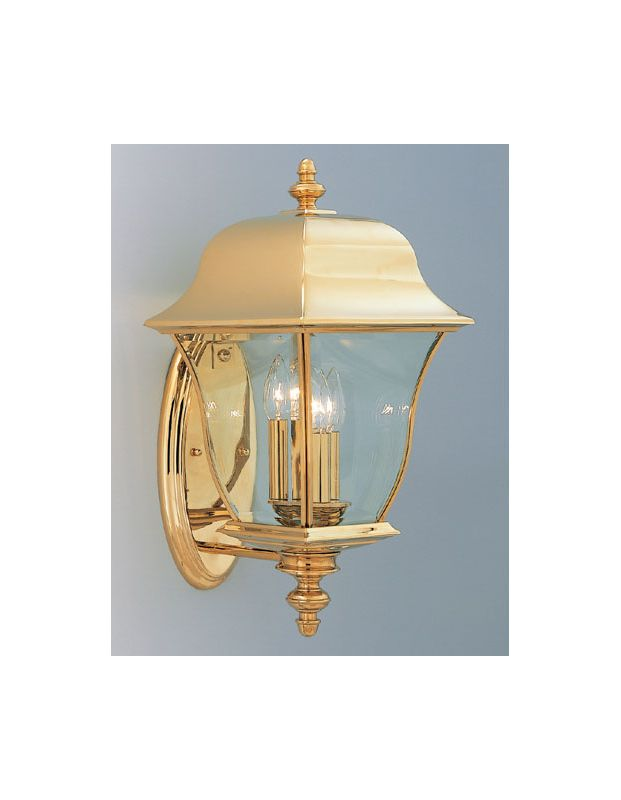 "Designers Fountain 1552-PVD-PB 3 Light 10"" Wall Lantern Solid Brass"