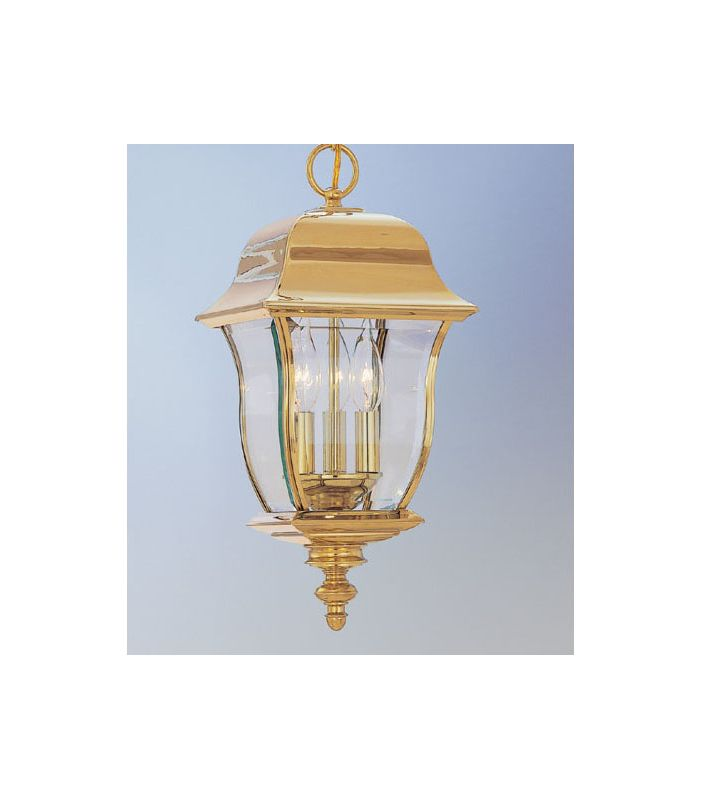 "Designers Fountain 1554-PVD-PB 3 Light 10"" Hanging Lantern Solid Brass"