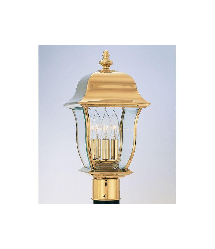 "Designers Fountain 1556-PVD-PB 3 Light 10"" Post Lantern Solid Brass"