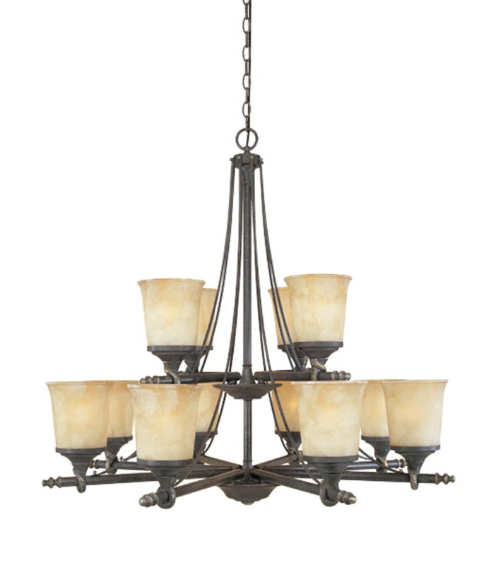 Designers Fountain 973812 Twelve Light Up Lighting Two Tier Chandelier
