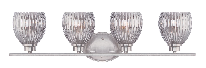 Designers Fountain 67704 Sonata 4 Light Vanity Light Satin Platinum