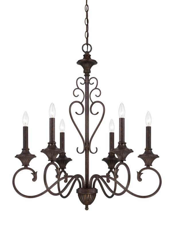 Designers Fountain 84886 Helena 6 Light 1 Tier Candle Style Chandelier