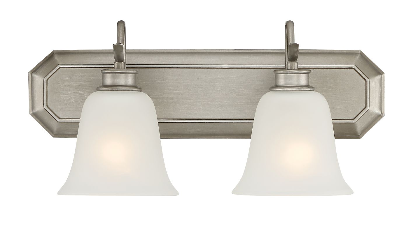 Designers Fountain 96902 Montego 2 Light Bathroom Fixture with Frosted