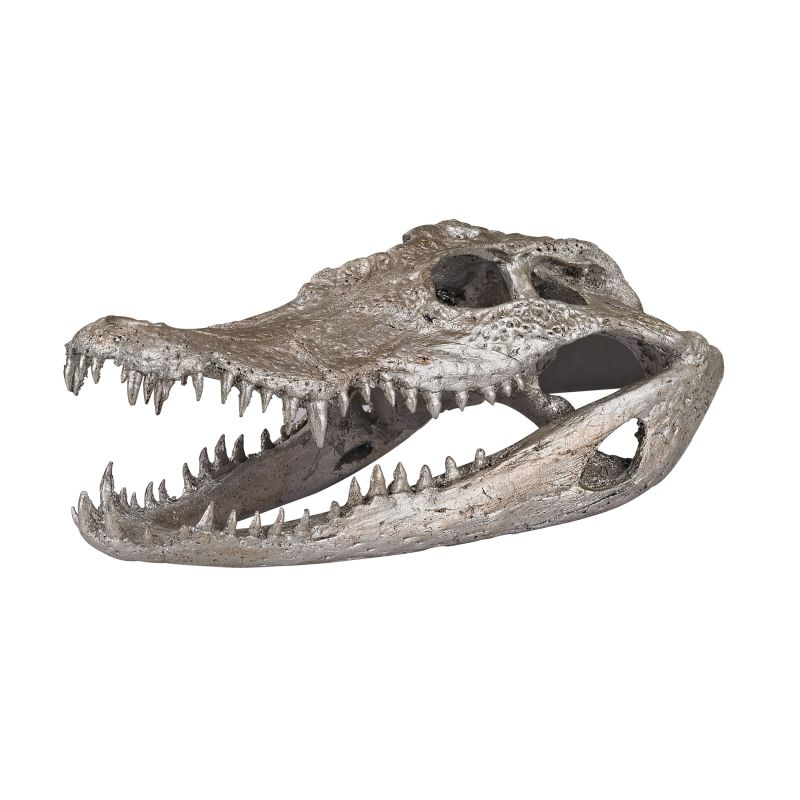Dimond Home 112162 Crocodile Skull In Silver Leaf Silver Leaf Home